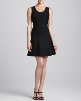 Herve Leger Scalloped Flare-Skirt Bandage Dress