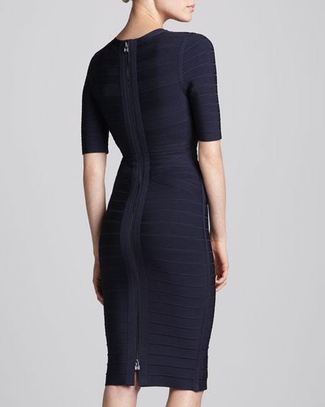 Half-Sleeve V-Neck Bandage Dress