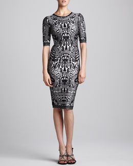 Herve Leger Combo Printed Half-Sleeve Dress