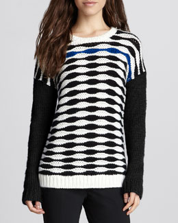 Tibi Long-Sleeve Printed Sweater