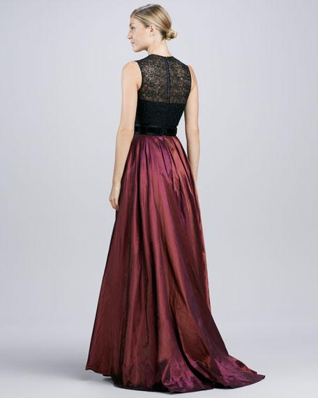 Lace-Bodice Taffeta Gown