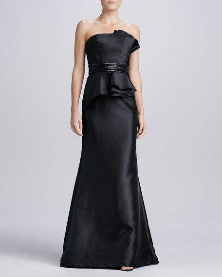 Strapless Beaded Peplum Gown, Black