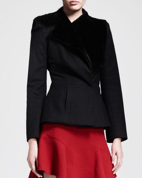 Asymmetric Shearling-Collar Jacket