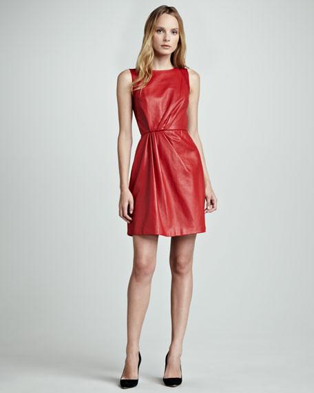 Organza-Back Leather Sleeveless Dress