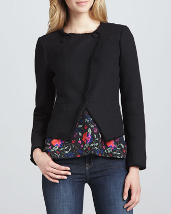 Carver Asymmetric Fringe-Trim Jacket