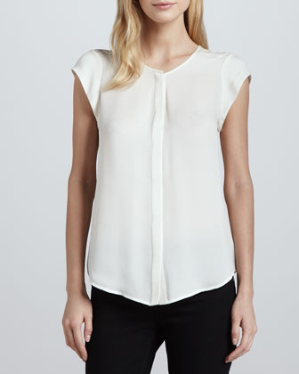 Dimante Silk Cap-Sleeve Blouse