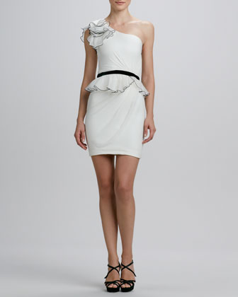 One-Shoulder Ruffled Cocktail Dress