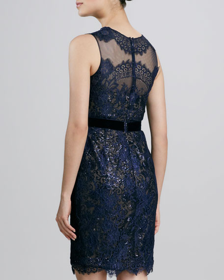 Lace Ribbon-Waist Cocktail Dress