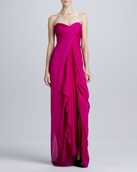 Strapless Sweetheart Ruffle Gown