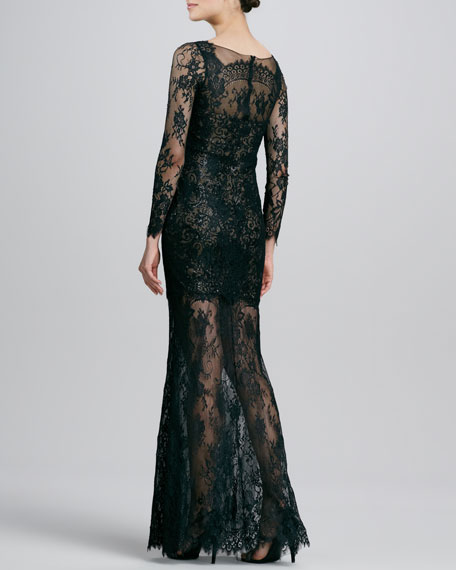 Long-Sleeve Lace Mini-Illusion Gown