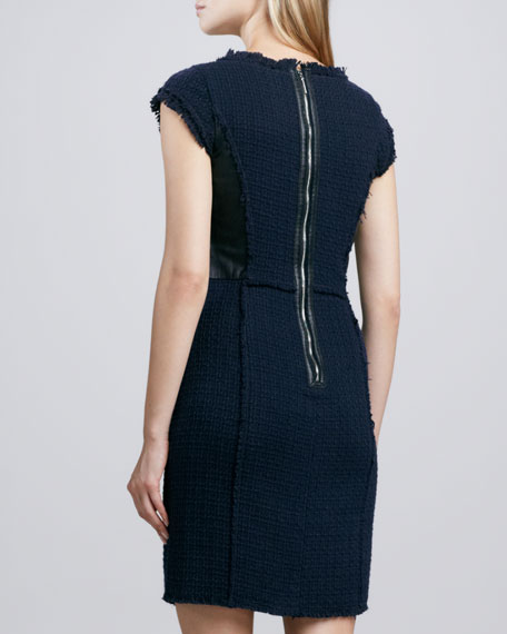 Leather-Panel Shift Dress