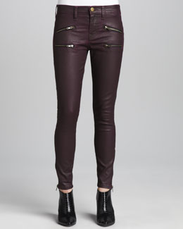 Current/Elliott The Soho Coated Stiletto Jeans, Purple