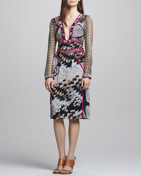 Poesie Plunge-Neck Printed Silk Dress