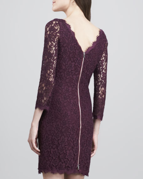 Zarita Scoop-Neck Short Lace Dress, Plum