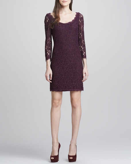 Zarita Scoop-Neck Short Lace Dress, Plum