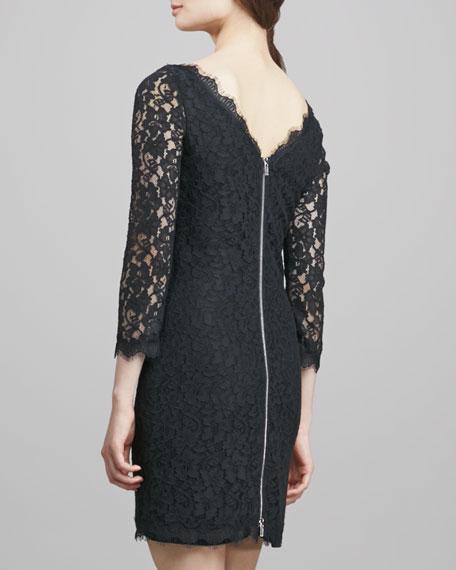 Zarita Scoop-Neck Short Lace Dress, Black
