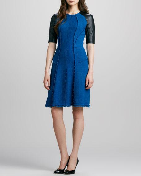 Leather-Sleeve Tweed Dress