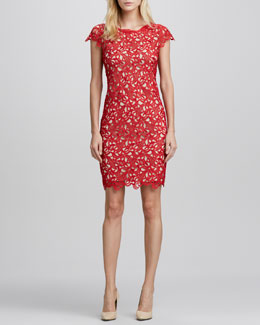 Alice + Olivia Clover Cap-Sleeve Eyelet Dress