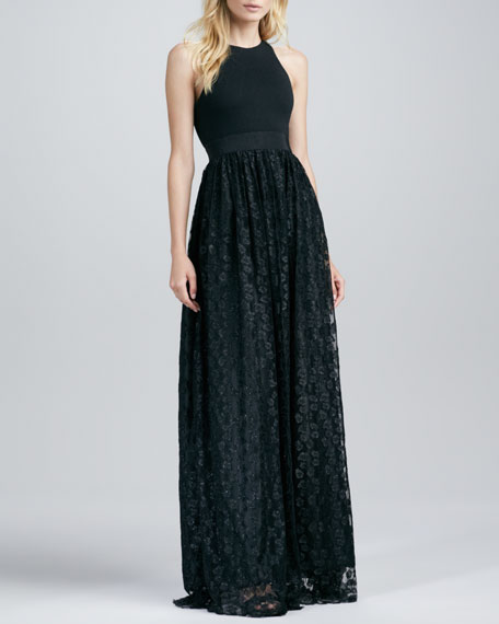 Sleeveless Gown with Lace Skirt