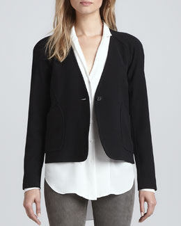 Theyskens' Theory Jeida Collarless Crepe Blazer