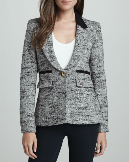 Contrast-Collar Tweed Blazer
