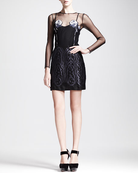 Magic Moire Embroidered Dress