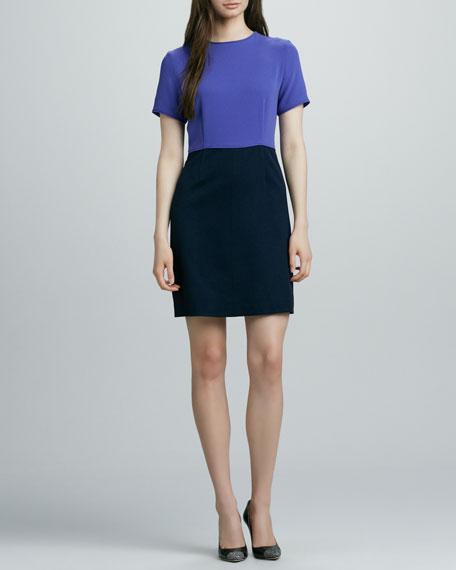 Spongy Wool Two-Tone Dress