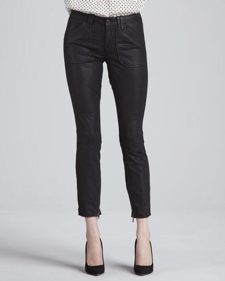 Coated Zipper-Cuff Skinny Pants
