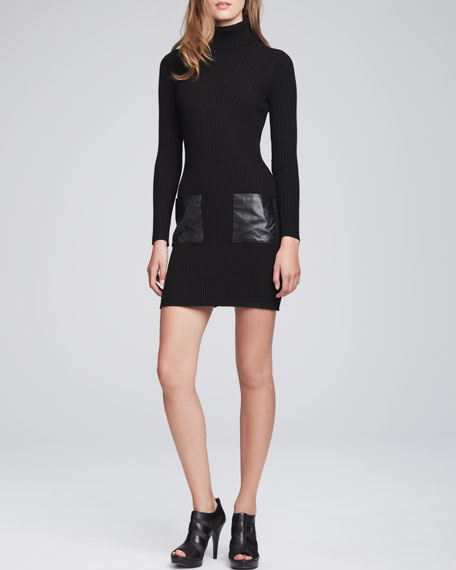 Slim Leather-Pocket Dress