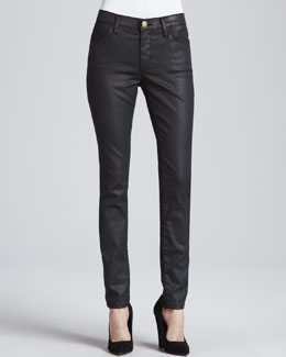Current/Elliott The Ankle Skinny Coated Jeans, Black