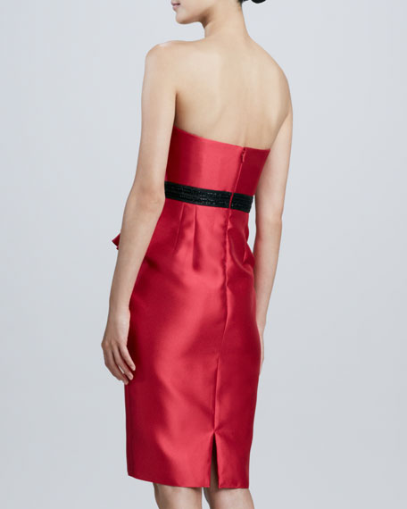 Strapless Beaded-Waist Cocktail Dress