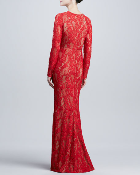 Long-Sleeve Lace Gown