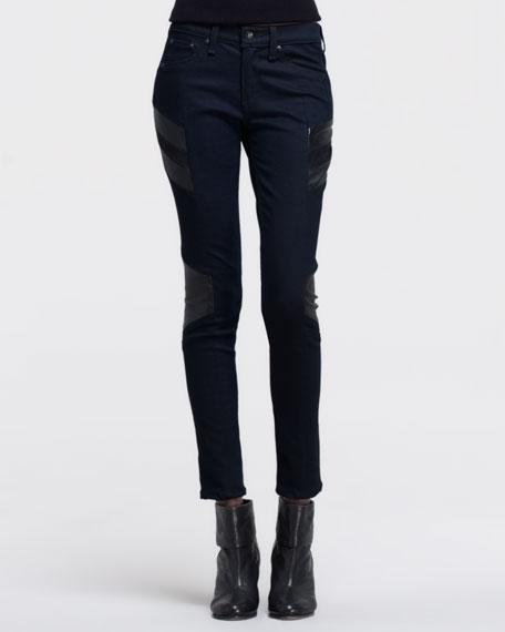 Halifax Leather-Panel Motocross Jeans, Midnight