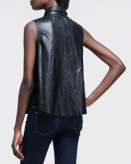 Sleeveless Leather Blouse