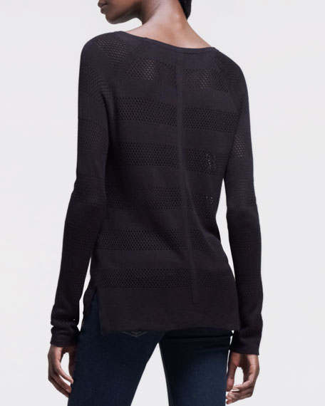 Genevieve Perforated-Stripe Pullover