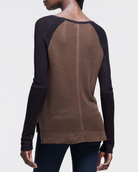 Genevieve Perforated Colorblock Sweater, Moss Green