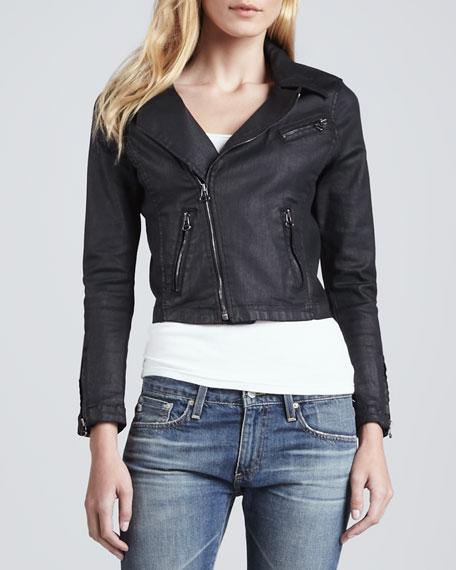 The Coated Moto Jacket in Black Slick