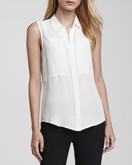 Duria Sleeveless Silk Blouse