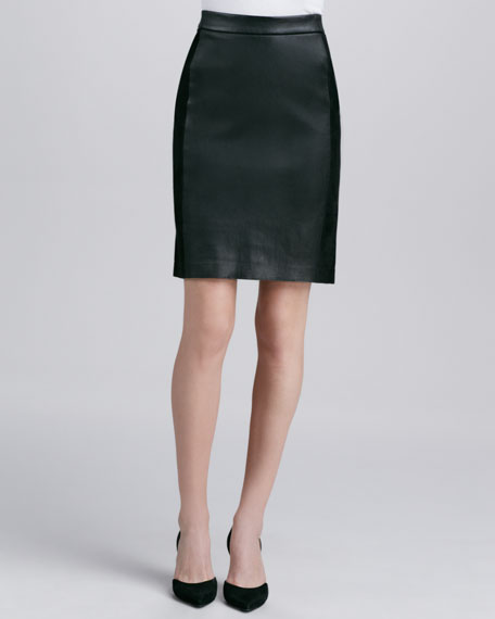 Contrast Leather/Suede Skirt, Black