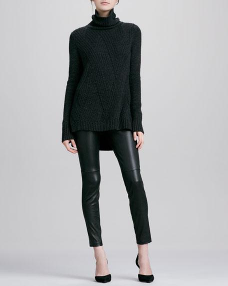 Zipper-Cuff Cropped Leather Leggings