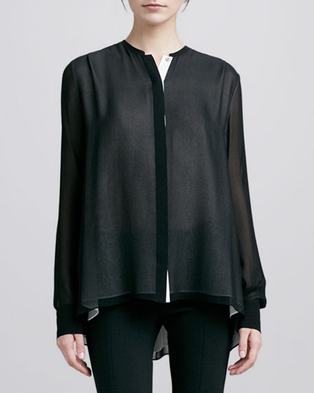 Double-Layer Silk Blouse, Black/Ivory