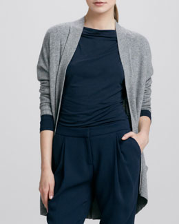 Vince Long Open Cashmere Cardigan, Platinum
