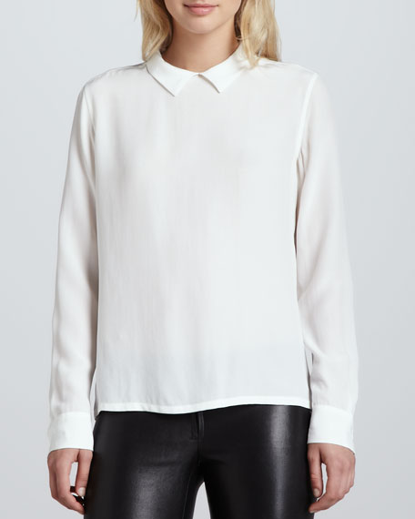 Grace Back-Button Blouse, Bright White