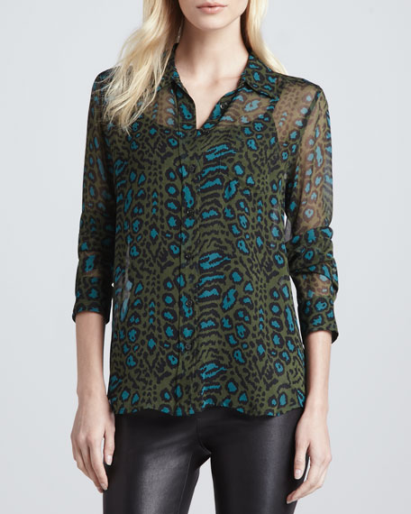 Brett Sheer Animal-Print Blouse