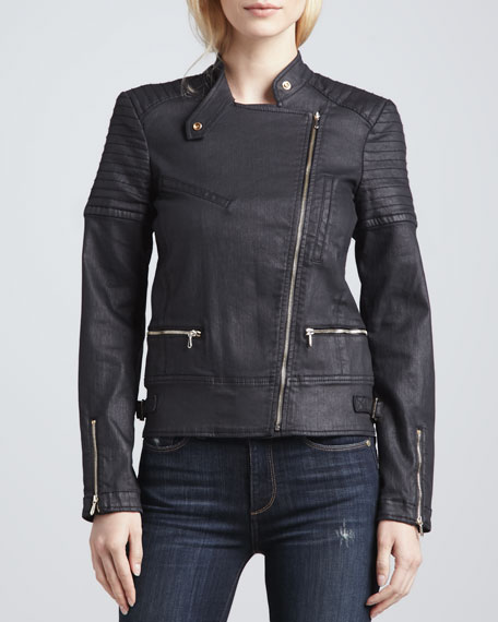 Coated Denim Motorcycle Jacket
