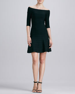 Herve Leger Boat-Neck Flare-Hem Bandage Dress