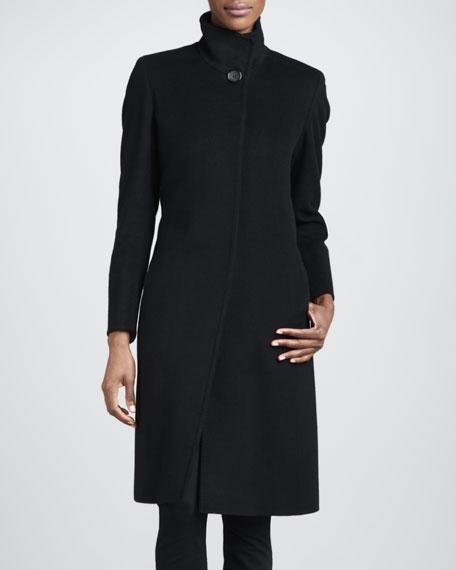 Funnel-Neck Wool Coat, Black