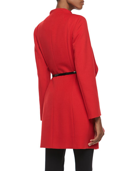 Ruffle-Front Belted Coat