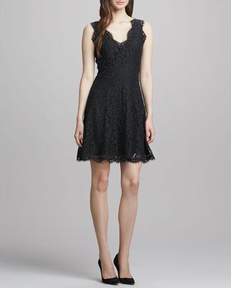 Nikolina Fringe-Trim Lace Dress