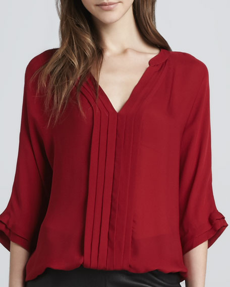 Marru Pleat-Front Blouse, Regal Red